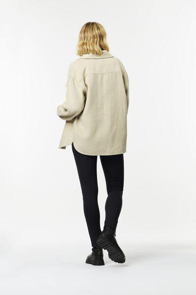 dames overshirt met wol zand XL - 36213994 - HEMA