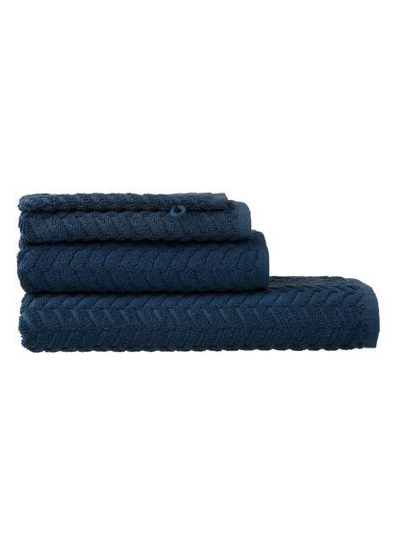 handdoeken - zware kwaliteit - zigzag donkerblauw donkerblauw - 1000015145 - HEMA
