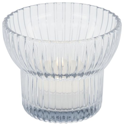 waxinelichthouder Ø8x6.5 - glas grijs - 13322048 - HEMA