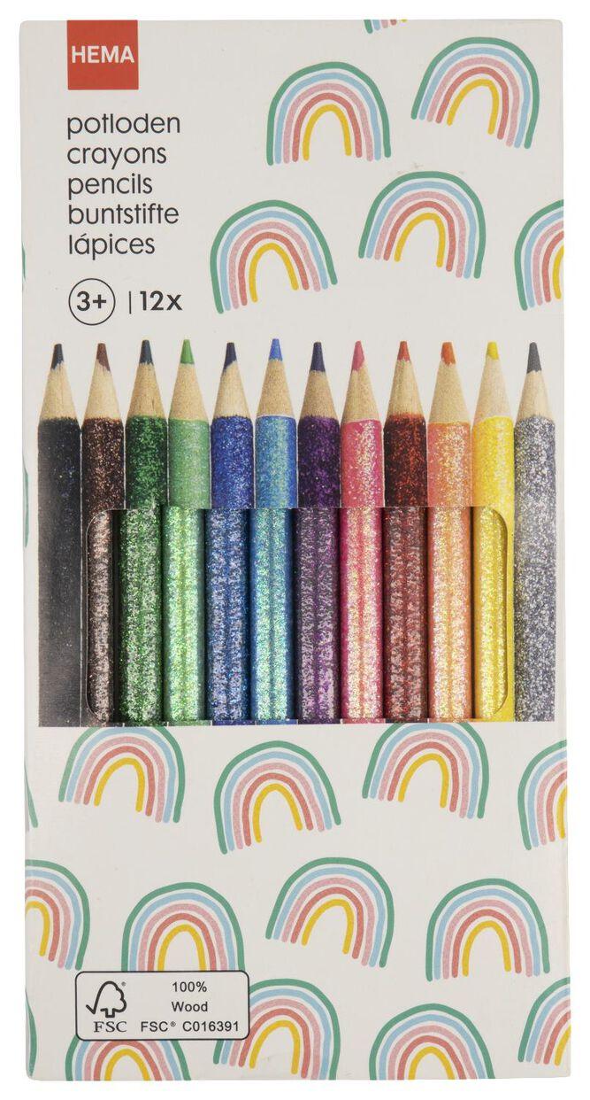 kleurpotloden glitter - 12 stuks