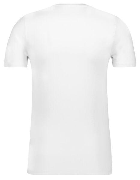 heren t-shirt slim fit diepe v-hals wit wit - 1000016216 - HEMA