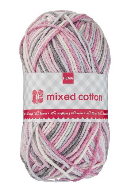 breigaren mixed cotton - roze/wit/grijs - 1400157 - HEMA
