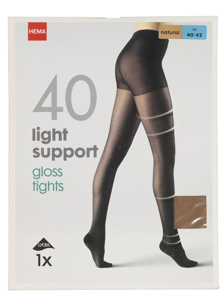 light support gloss panty 40 denier naturel naturel - 1000000944 - HEMA