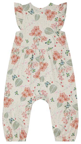 baby jumpsuit bloemen gebroken wit 92 - 33015946 - HEMA
