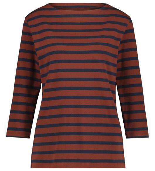 dames t-shirt boothals bruin - 1000021007 - HEMA