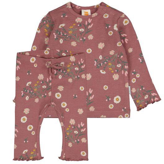 newborn set t-shirt en legging rib bloemen roze 68 - 33421614 - HEMA