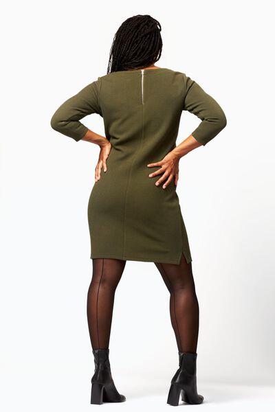 dames jurk structuur olijf S - 36241146 - HEMA