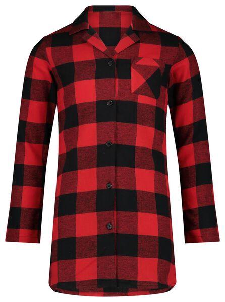 kindernachthemd flanel ruit rood rood - 1000022123 - HEMA