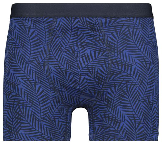 3-pak herenboxers lang katoen stretch - bladeren blauw blauw - 1000021493 - HEMA