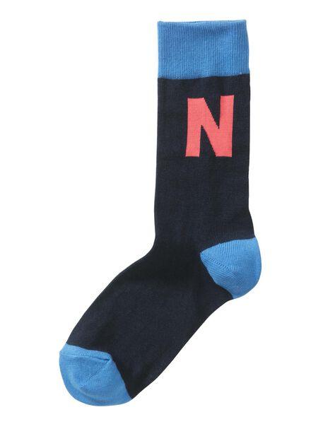 sokken maat 43-46 met letter N - 60530028 - HEMA