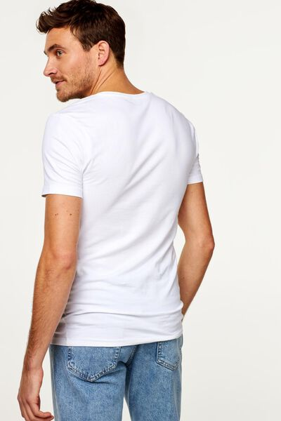 heren t-shirt slim fit diepe V-hals wit XL - 34292744 - HEMA