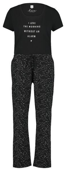 damespyjama zwart - 1000019980 - HEMA