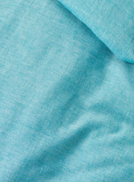 dekbedovertrek - chambray katoen - 200 x 200 cm - blauw groen 200 x 200 - 5700072 - HEMA