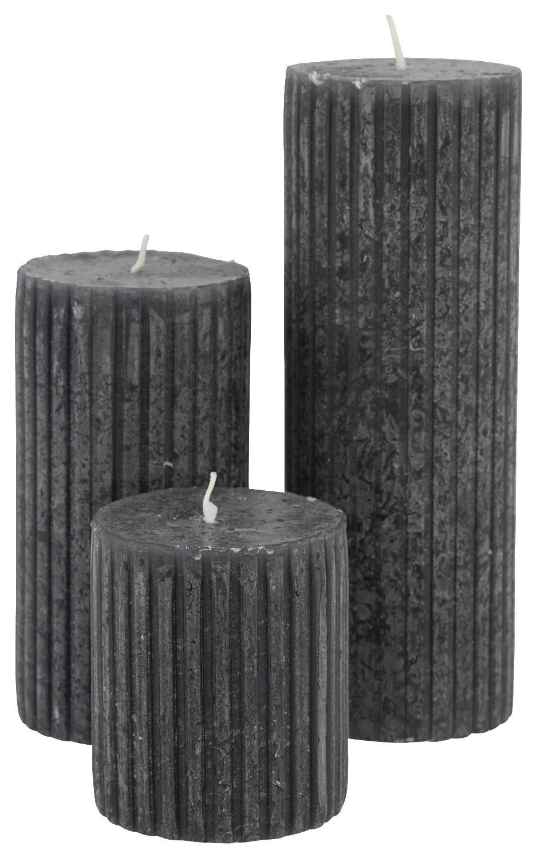 HEMA Rustieke Kaars Met Reliëf 7x19 Zwart (zwart)