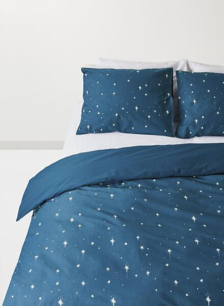 dekbedovertrek - zacht katoen - 240 x 220 cm - blauw sterren Grey 240 x 220 - 5710040 - HEMA