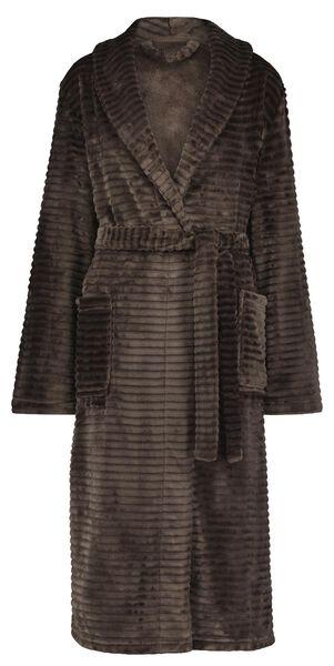 damesbadjas fleece taupe S/M - 23422301 - HEMA