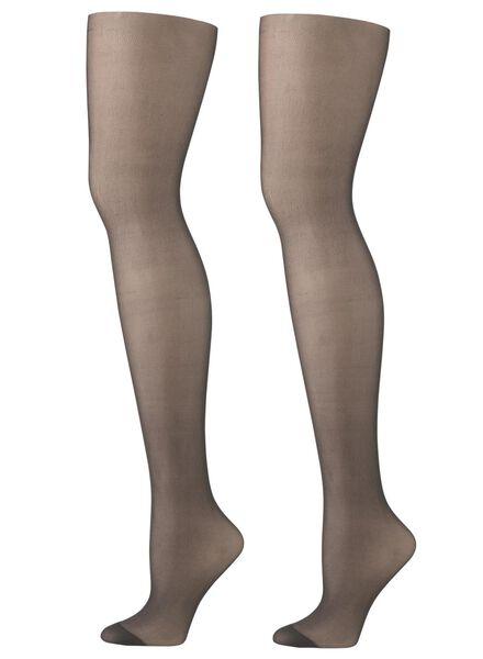 2 pak panty shine to go zwart zwart - 1000006413 - HEMA