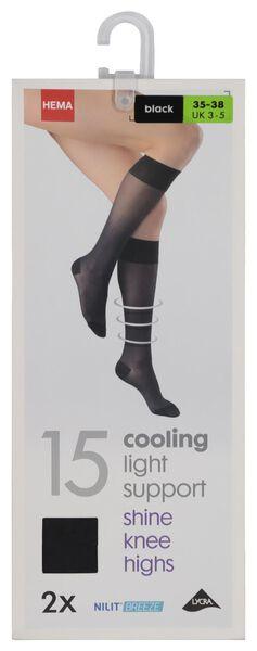 2-pak pantykniekousen licht ondersteunend cooling 15 denier zwart zwart - 1000019394 - HEMA