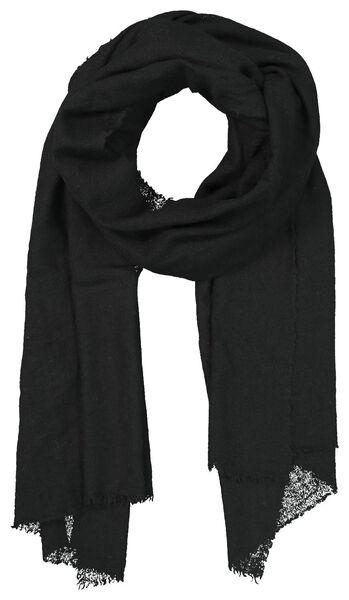 damessjaal 200x60 wolmix zwart - 1790025 - HEMA