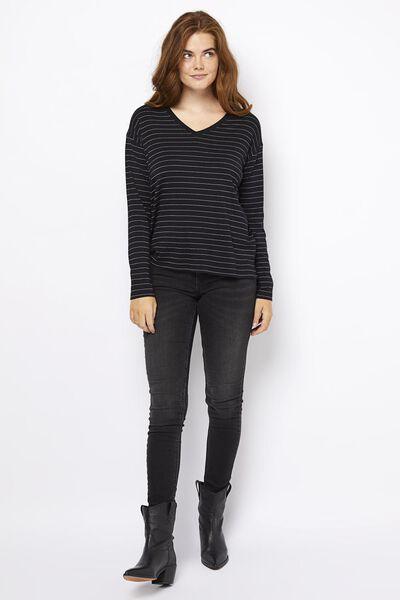 dames t-shirt streep zwart zwart - 1000021212 - HEMA