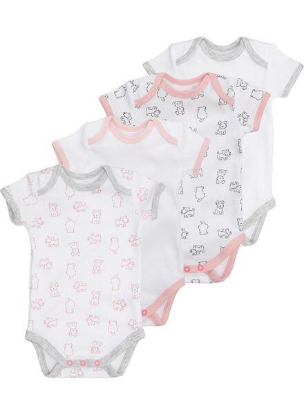 4-pak baby rompers wit wit - 1000005152 - HEMA