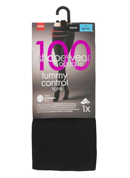 tummy control panty 100 denier zwart zwart - 1000001208 - HEMA