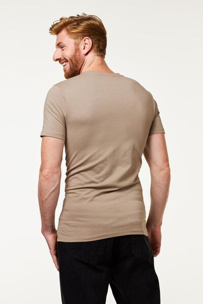 heren t-shirt diepe V-hals slim fit beige beige - 1000016219 - HEMA
