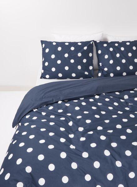 dekbedovertrek - katoen - 240 x 220 cm - donkerblauw stip donkerblauw 240 x 220 - 5700053 - HEMA