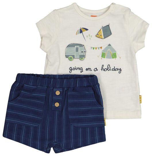 newborn set - t-shirt en short - biologisch katoen wit wit - 1000019826 - HEMA
