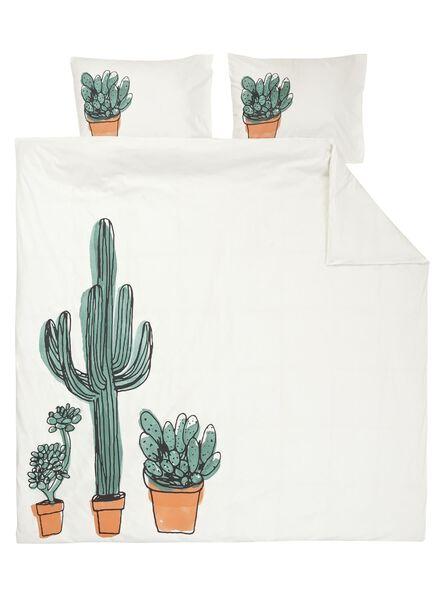 dekbedovertrek - zacht katoen - 200 x 200/220 cm - wit cactus - 5700166 - HEMA