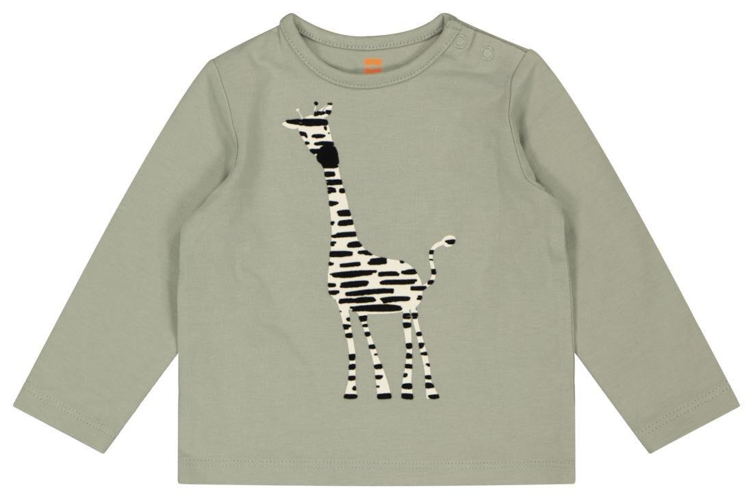 HEMA Newborn T-shirt Met Bamboe Giraf Groen (groen