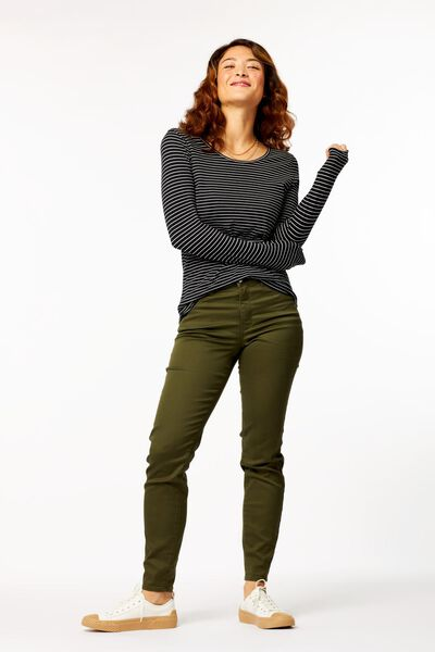 dames t-shirt smalle streep multi - 1000023498 - HEMA