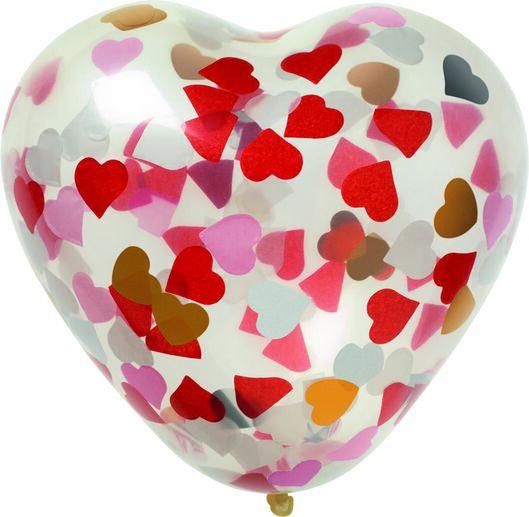 confettiballonnen hart 30 cm - 6 stuks - 14280138 - HEMA