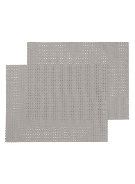 placemats - 32 x 42 - kunststof - lichtgrijs - 2 stuks - 5360010 - HEMA