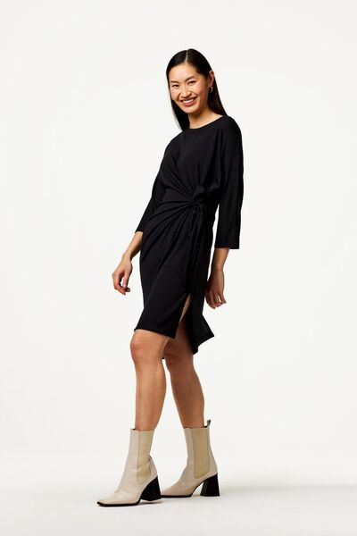 damesjurk met strik zwart zwart - 1000023478 - HEMA