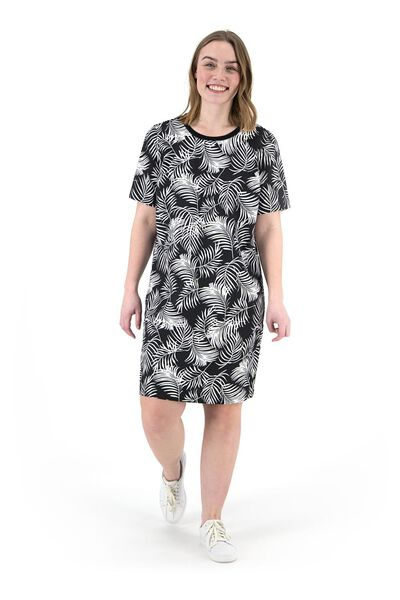 damesjurk zwart/wit XL - 36278022 - HEMA