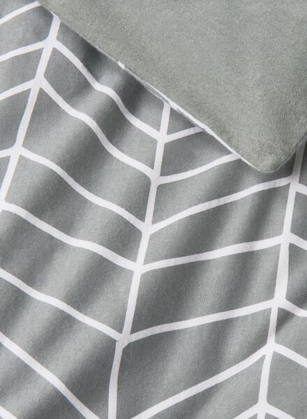 dekbedovertrek - flanel - 200 x 200 cm - grijs print - 5700011 - HEMA