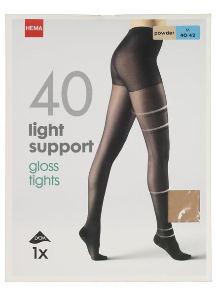 light control gloss panty 40 denier poeder poeder - 1000000950 - HEMA