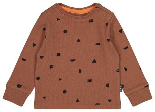 newborn t-shirt rib bruin - 1000022288 - HEMA