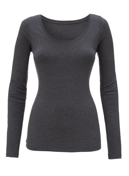 dames t-shirt donkergrijs - 1000005153 - HEMA