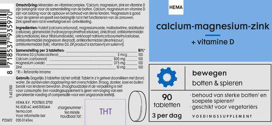 calcium-magnesium-zink + vitamine D - 90 stuks - 11402100 - HEMA