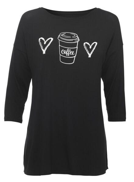 dames pyjamatop viscose zwart zwart - 1000011754 - HEMA