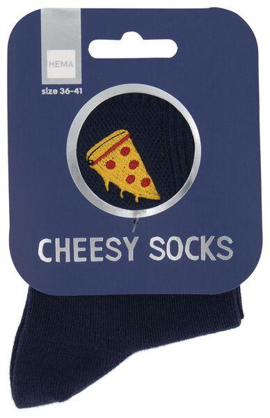 sokken maat 36-41 'cheesy' pizza blauw - 61140082 - HEMA
