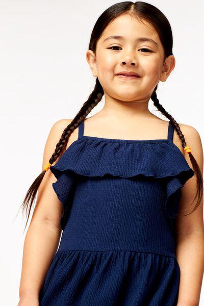 kinderjurk structuur donkerblauw 146/152 - 30825838 - HEMA