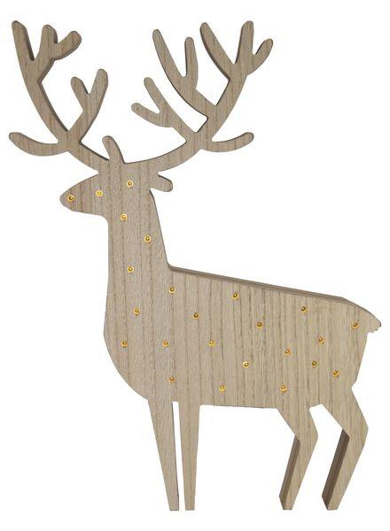 houten rendier met LED lampjes - 25530017 - HEMA