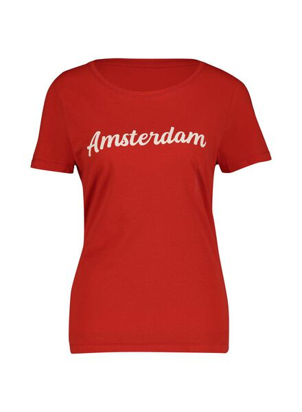 dames t-shirt rood rood - 1000014344 - HEMA