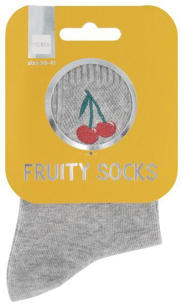 sokken maat 36-41 'fruity' kers grijs - 61140086 - HEMA