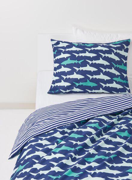 kinderdekbedovertrek - zacht katoen - 140 x 200 cm - blauw haai - 5700097 - HEMA
