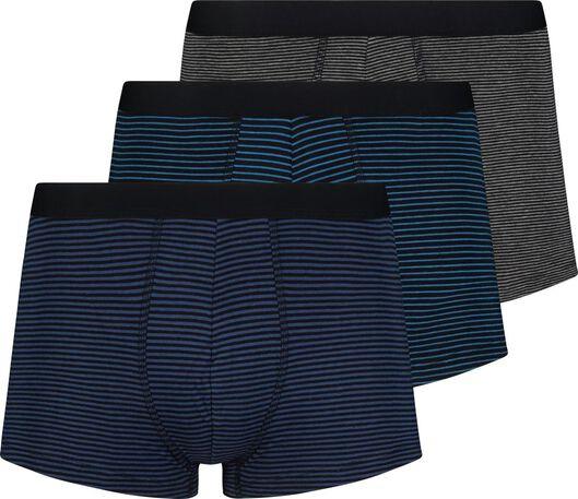 3-pak herenboxers kort katoen stretch blauw blauw - 1000019050 - HEMA