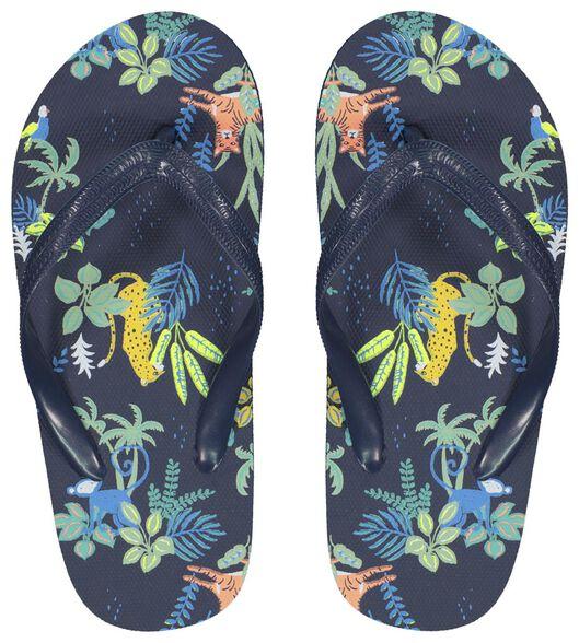 kinder teenslippers jungle donkerblauw donkerblauw - 1000023101 - HEMA